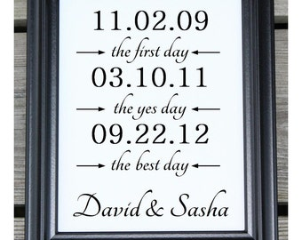 First Day Yes Day Best Day Cotton Print | Anniversary Cotton | Personalized Dates | Personalized Wedding Gift | Personalized | Wedding Dates