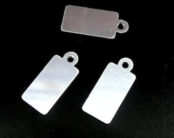 Sterling Silver Rectangle Stamping Blanks Tags Charms 26 ga, 6.2x12.6mm- 3 pcs