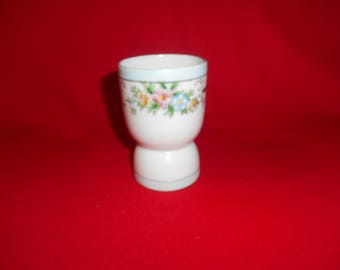 One (1), Porcelain, Double Egg Cup, from H. B. of Japan, in a Wild Rose Pattern.