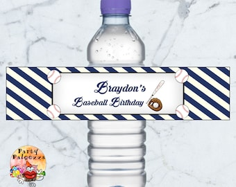 Printable Personalized Birthday Baseball water bottle label