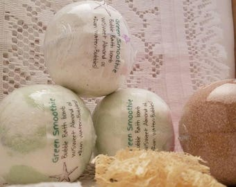 Bath Bombs cocoa butter green smoothie essential oils fragrance oils sweet almond oil