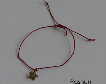 Seashell Jewelry ... Wish Bracelet ... Adjustable ... Star on Burgundy  (1420)