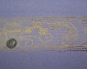 Antique  Ecru Edwardian 1920s Millinery Net Lace Trim Passementerie Boudoir Flapper