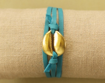 Leather Wrap Bracelet with Gold Hawaiian Cowrie Shell
