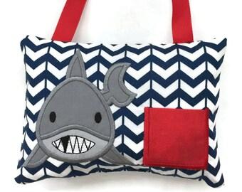 Shark Tooth Fairy Pillow - Boys Tooth Fairy Pillow - Tooth Fairy Gift - Lost Tooth - Birthday Gift
