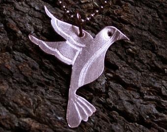 Copper Hummingbird Pendant  'Little Jewel'   Engraved flying hummingbird necklace. Copper bird.