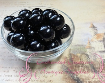 20mm Black Acrylic Pearl Beads Qty 10, Chunky Beads, Bubblegum Beads, Gumball Beads, Chunky Jewelry Beads, Acrylic Beads