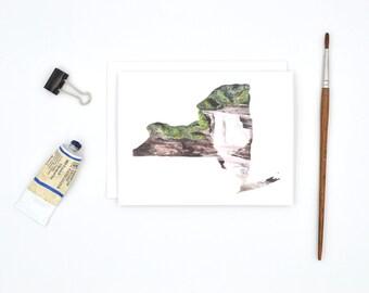 NY State Notecard - Upstate New York Art Card - Watercolor Notecards - Blank Notecards - Ithaca Notecard - Long Distance Love - NY Gift