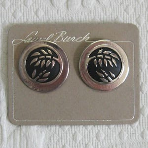 Laurel Burch earrings . earrings for pierced ears . Laurel Burch . silver and black earrings