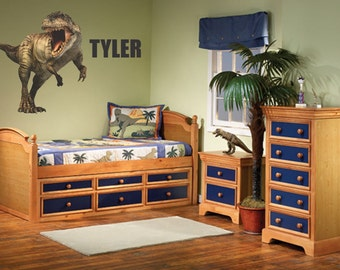 Dinosaur Wall Decal - T-Rex  with Custom Name