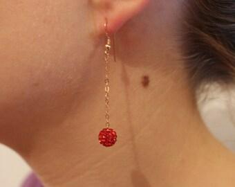 Rose gold and Pearl chain earrings swarovski rhinestones