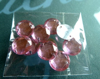 10 round appliques pink clear 12 mm 2 holes customisation