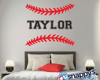 Personalized Baseball/Softball Wall Decal - Custom Baseball Decal, Personalized Baseball Decals, Baseball Wall Decor, Sports Wall Art Decor