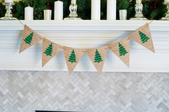 holiday banner burlap christmas banner christmas tree - Burlap Christmas Banner
