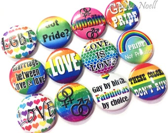 """Gay Pride, 1"""" Buttons, Marriage Equality, Pride Pins, Gay Pride Buttons, Pride Pinbacks, Gay Pride Flatbacks, Rainbows, LGBT, LGBT Buttons"""