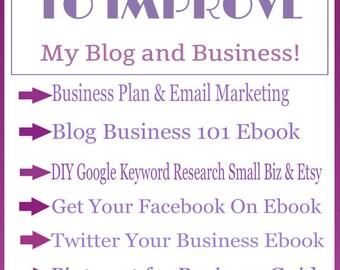 Business Plan-Business Planner-Blog Planner-Complete Start Up Kit for Small Biz-Etsy Biz-Business-Blogging-Social Media-Keyword Research