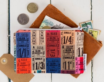Tickets Purse, Vintage bus travel make up bag, zip fasten pouch