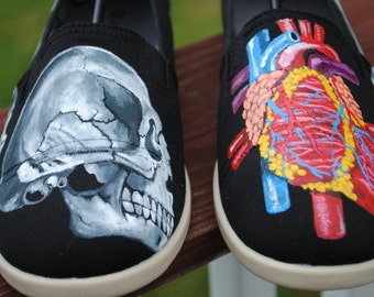 New Skull and Heart Design Shoes with feet bones on the sides.-  Sold note these are just a sample