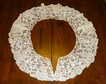 "1 Antique Brussels Duchesse Point De Gaze Lace BERTHA Collar..Lace 6"" Wide by 74"" Perfect Bobbin Lace 1880 era"