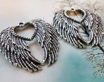 Large Angel Wing Pendants-Wing Pendants-45mm-2pcs Antiqued Silver Ornate Angel Wing Pendants Heart Wing Pendants