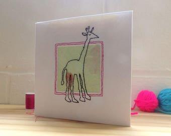 Giraffe Birthday Card, Stitched Card, Greetings card Blank Card, Note Card