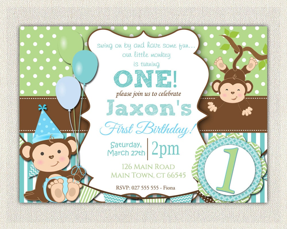 Boys Blue and Green Monkey 1st Birthday Invitation / Printable