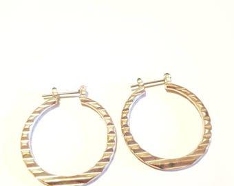 Silver ripple texture earrings. Silver hoop earrings