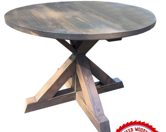 Round Farmhouse Style Dining Table