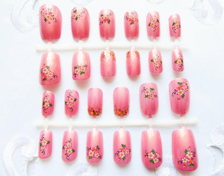 24 Peach Flower Nails / Fake Nails / False Nails / Press on Nails ...