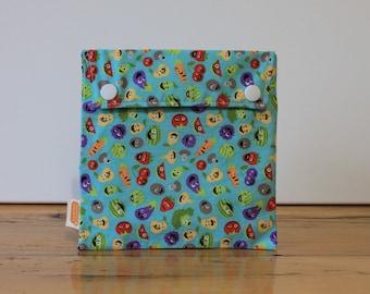 Ready-to-ship! Reusable sandwich bag, reusable snack bag, fabric bag, Veggie friends print [#99], eco friendly, no waste lunch, washable bag