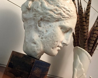 Ancient Greek Goddess Hygeia | Vintage Reproduction | Ancient Greek Statue Sculpture | Plaster Terra Cotta | Head of Hygeia | Classic Decor