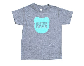 Sister Bear Kid's Toddler's Heather Grey Triblend TShirt with Aqua Blue Print