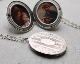 Silver Victorian Locket ... Oversized Long Locket Pendant Necklace