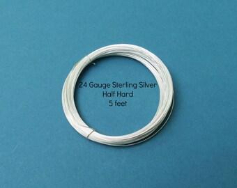 Silver Wire - 5 Feet - 24 Gauge - Sterling Silver Wire - Round - Half Hard