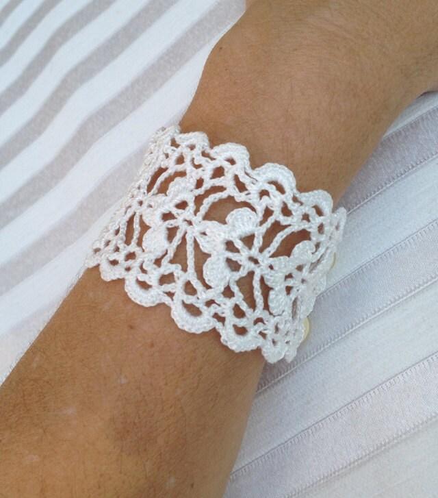 Tutorial Crochet Pattern Lace Cuff Bracelet Bracelet Pattern