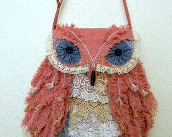 Shabby Chic Owl  Bag Bohemian Handbag Bag with  Feathers Lace Cottage Chic Summer Purse Original Design