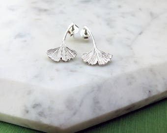 Ginkgo Leaf Stud Earrings - Small Studs, Sterling Silver, Ginkgo Biloba Leaf, Nature, Tree, Botanical Inspired Studs, Delicate Earring