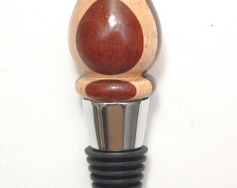Bottle Stopper Laminated from African Padauk and Vermont Maple