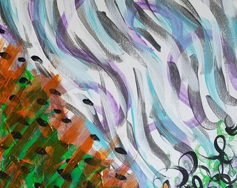 """Green, Orange, Purple, Blue and White Original Acrylic Abstract Painting on Canvas """"Series 5 XIII"""" Wall Art, Home Decor, Wall Hanging"""