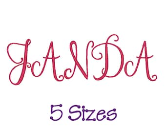 Janda Font for Embroidery. Entire Alphabet. 5 Sizes.