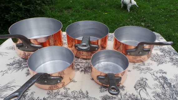 Copper Pans Pans Five Vintage Aluminium Lined Exceptional French 2+mm Copper Pans 5.8 Kilos 12lbs 14ozs Quality Copper with Aluminum Linings