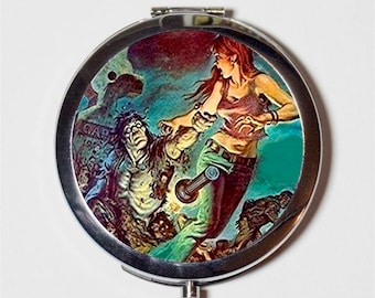 Retro Zombie Compact Mirror - Horror Pulp Fiction Zombies - Make Up Pocket Mirror for Cosmetics