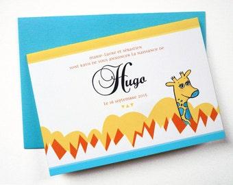 "Illustrated Birth Announcement Card ""Giraffe"""