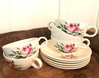 Vintage Salem Melody Lane Rose-Patterned Tea Cups and Saucers Set of 5