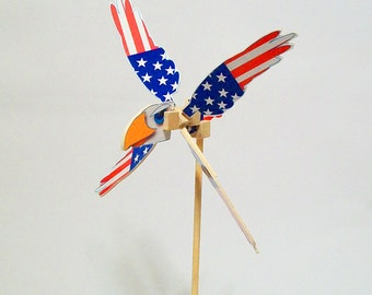 Fourth of July Little Wooden Whirligig - Eagle