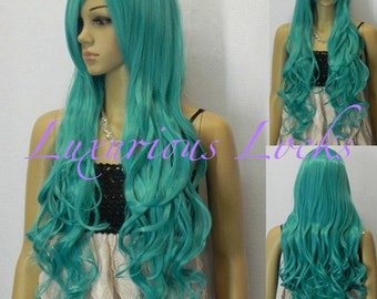 Athena // full turquoise synthetic wig