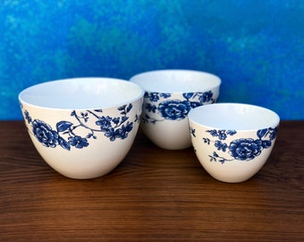 Portobello by Inspire Blue And White Floral Serving Bowls Set of 3 Portobello by Inspire Porcelain Nesting Bowls