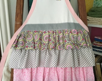 Child's apron - Handmade ruffled apron for girls.