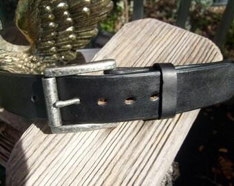 Black Leather Belt, Casual Black Belt with Antique Nickel Finished Roller Buckle