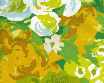 Vintage Fabric - Green Flowers   1 Yard